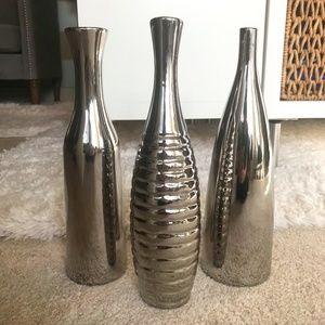 Three Piece Chrome Vase Set